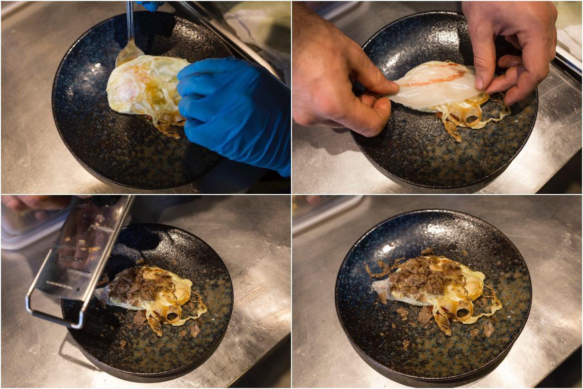 Huevo frito con trufa negra melanosporum