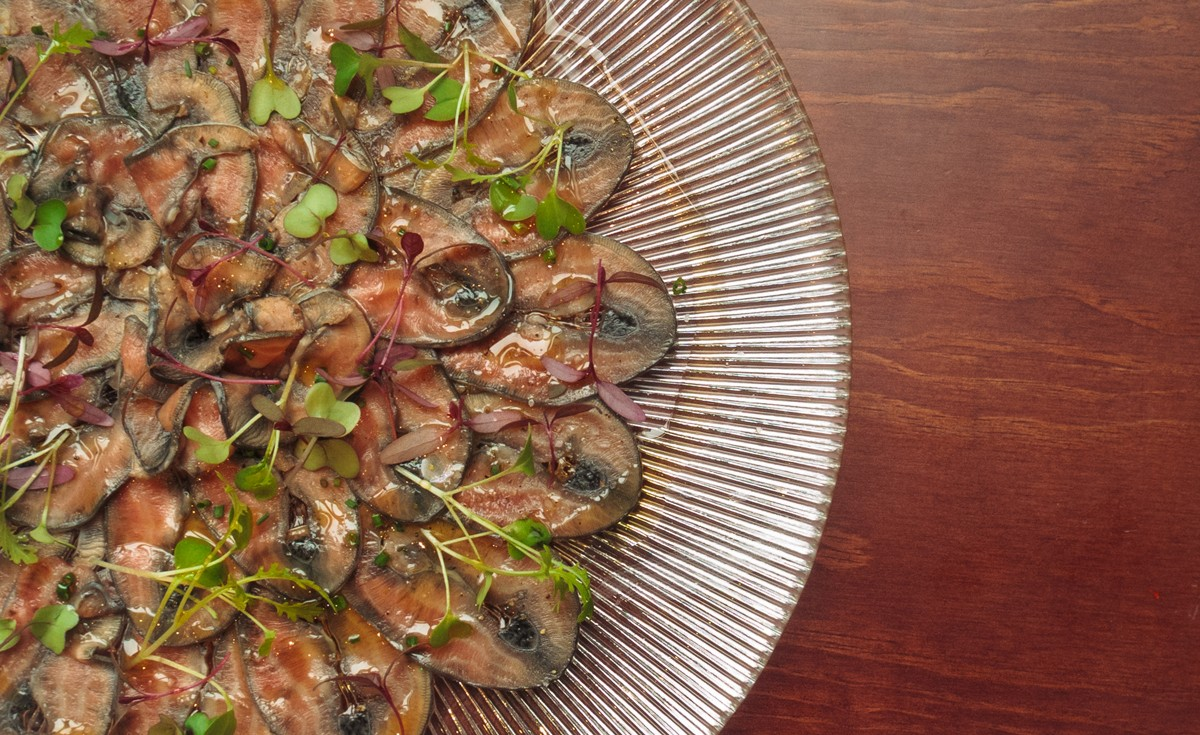 Smoked sea lamprey carpaccio